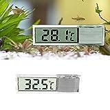 fomccu LCD 3D Kristall Digital Fisch-Reptile Aquarium Tank Thermometer Temperatur Silber