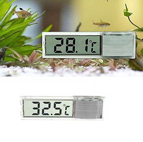 FomCcu Aquarium-Thermometer mit LCD-Anzeige, 3D, silberfarben