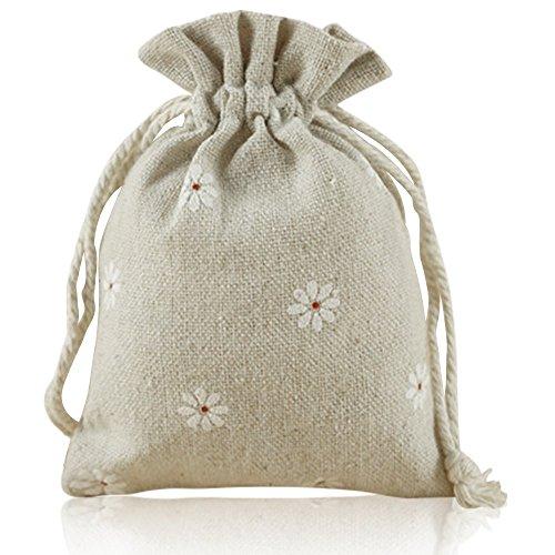 G2plus natur jute saeckchen 20pezzi sacchetto cotone 9cm *12cm sacchetti in lino perfetto per fiori di lavanda, gioielli, weiße blume