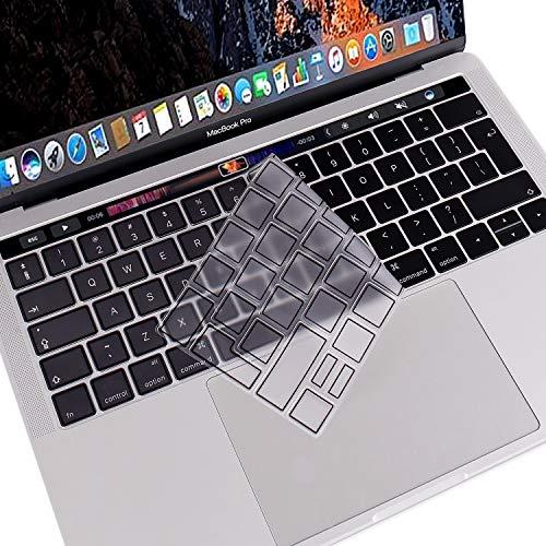 MOSISO AZERTY Protection Clavier Compatible MacBook Pro 13/15 Pouces Touch Bar 2018 2016 A1989/A1706 / A1990/A1707 Premium Qualité Ultra Slim Protège Clavier (EU Layout), TPU Noir