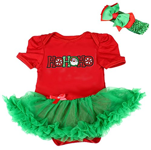 nta HoHoHo rot Body grün Tutu Strampler Baby Set nb-18m Gr. M , Rot ()