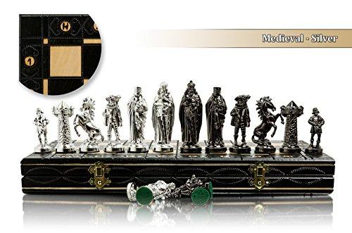 Lusso medievale - SILVER Edition Chess Set 40cm/16 'metallizzato metallo ponderata Chessmen & grande scacchiera di legno decorativo!!!