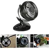 USB Silencioso Ventilador de Mesa Potente con Pinza 5 Pulgadas Mini Fan 360 Grados de Rotación para Oficina/ Hogar/ Viaje (Negro) -Duomishu