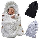 Neugeborenes Babydecke Wrap Swaddle Decke, SOONHUA Baby Kinder Kleinkind Wolle Knit Decke Swaddle Schlafsack Schlaf Sack Stroller Wrap für 0-12 Monate Baby (White) Bild