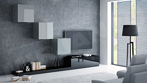 Modernes Wohnwand Pixel VI, Wohnzimmer Set, Anbauwand, Fernsehschrank,  Design Mediawand, Hängeschrank, TV Lowboard, TV Tische   Möbelbilliger.de