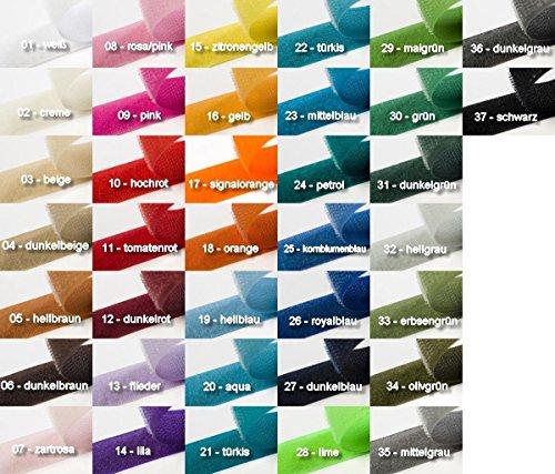 Jajasio Klettband zum Nähen, 4 Meter, 20mm breit Klettverschluss zum Nähen in 37 Farben / Farbe: 03 - beige (3 4 Klettband)