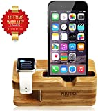 NIUTOP Apple Watch Stand, iWatch Wood Charging Stand Bracket Docking Station Stock Cradle Holder for Both 38mm and 42mm