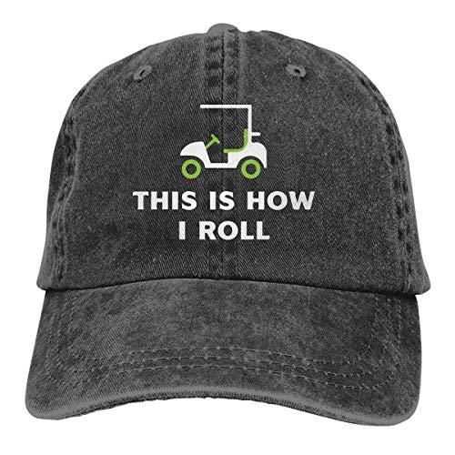 Dies ist wie ich Golf Cart 2 Unisex Garn gefärbt Denim verstellbare Baseball Cap rolle -