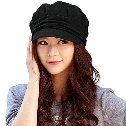 SIGGI schwarze Zeitungsjunge Mütze Baumwolle Barett Maler Mütze Für Frauen Mit Visor Baskenmütze Schirmmütze