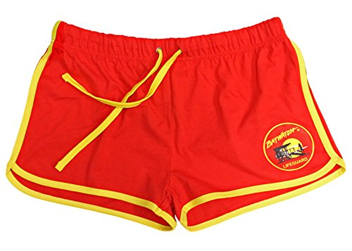 Ladies Licensed Official Baywatch Red and Yellow Shorts - XS to XXL