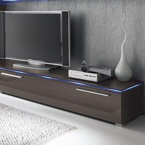 Anbauwand 7-tlg. Hochglanz grau, 2 x TV-Element, 3 x Hängeschrank, 3 x Zwischenelement, 2 x Glasbodenpaneel, Mindestb.: ca. 300 cm, Tiefe: ca. 40 cm - 4
