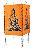 Guru-Shop Lokta Papier Hänge-Lampenschirm, Deckenleuchte aus Handgeschöpftem Papier - Buddha, Orange, Farbe: Orange, 28x18x18 cm, Papierlampenschirme Quadratisch
