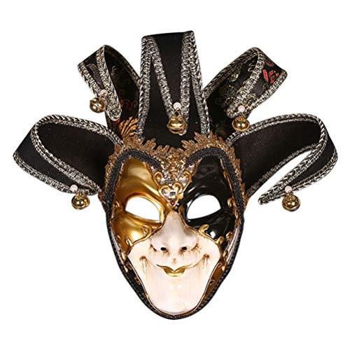 Zhuhaijq Deluxe Halloween Kostüm Maske - Joker Venetian Masquerade Vollmaske mit Glocken Karneval Maskentanzabend Party