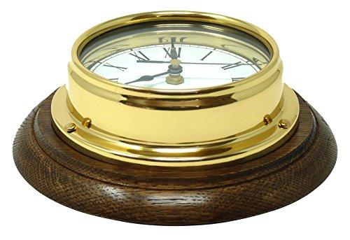 Tabic Classic Messing Römischer Uhr auf Einer English Oak Mount, Schwere Messing Lackiert Fall (1/2kg Biomüll), Schiffe Segelboot Uhr, Englisch Eiche Halterung, Handgefertigt in England -