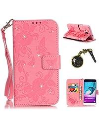 PU Carcasa de silicona teléfono móvil Painted PC Case Cover Carcasa Funda De Piel Caso de Shell cubierta para smartphone (Samsung Galaxy J3J310(2016) 5,0pulgadas) + Polvo Conector