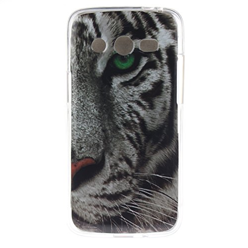 Coque Samsung Galaxy Core 4G SM G386F, Coffeetreehouse Housse Etui Protection Full Silicone Souple Ultra Mince Fine Slim pour Samsung Galaxy Core 4G SM G386F, Samsung Galaxy Core 4G SM G386F Étui en TPU silicone   tigre blanc