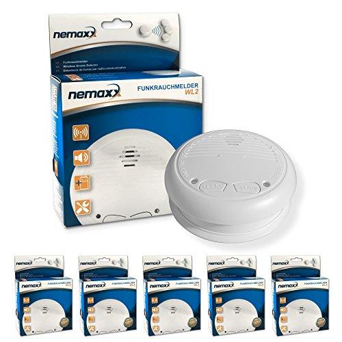 5X Nemaxx WL2 Funkrauchmelder - hochwertiger Rauchmelder Brandmelder Set Funk koppelbar vernetzt - nach DIN EN 14604