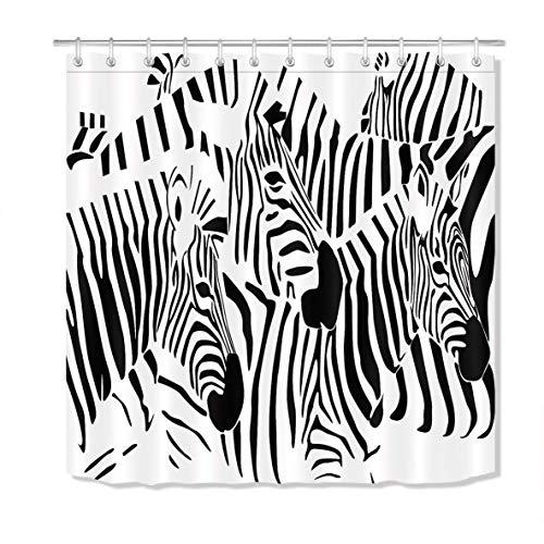 Eybfrre Black White Zebra Duschvorhang Set, African Wild Animal Zebra Bathroom Accessories, 70 x 70 Inch Fabric Duschvorhang Waterproof 0J1446 Wild One Black Zebra