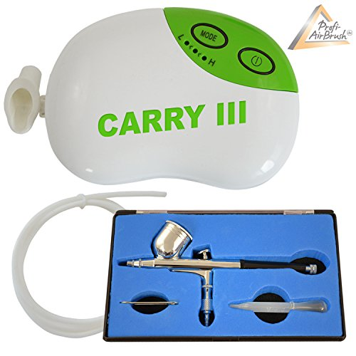 Profi AirBrush KOMPRESSOR SET Carry III-LIMITIERTE AKTION!- Airbrush Kompressor für Airbrushfarben UNIVERSAL AIRBRUSHPISTOLE Single-Action-Gun 130 D 0,3 Düse, Fließbecher OPTIMALES Airbrush-Kit für alle Anfänger zum Kennenlern-Preis! -