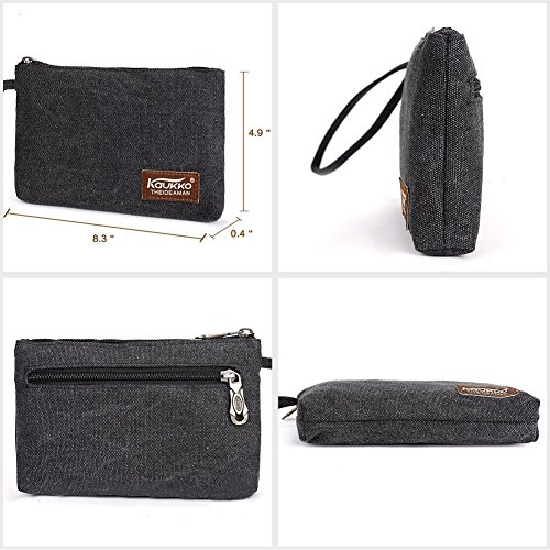 Vintage Rucksäcke,Kaukko Canvas Laptop Rucksack Damen Herren Schulrucksack Daypack Stylisch Backpack für Outdoor Wanderreise Camping mit Großer Kapazität (Grün 702-1) Schwarz01
