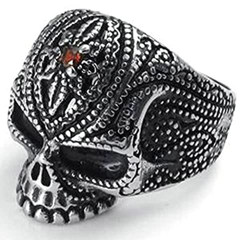 Bishilin Stainless Steel Vintage Silver Black Fleur De Lis Skull Rings with Red Zirconia Size R 1/2