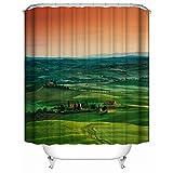 YAOFUTEE Duschvorhang-Dekor, grünes Wiesen-Grün-Feld und Blauer Himmel-weißes Gras-Klare Einfache Orange Wolken-Wasserdichte Mehltau-Polyester-Gewebe-Duschvorhänge Badezimmer36 x 72