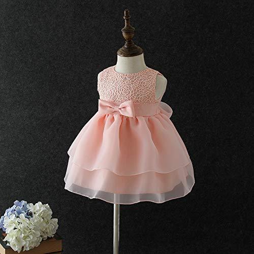 QTONGZHUANG Baby Kleid Frühling und Sommer Sommer Neugeborenes Vollmond Baby Kleid Baby Kleid Alter Prinzessin Kleid Mädchen Hochzeitskleid, Rosa, 80cm