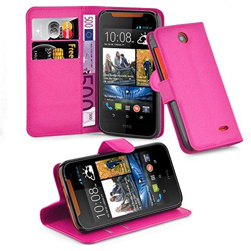 Cadorabo Hülle für HTC Desire 310 Hülle in Cherry Pink Handyhülle mit Kartenfach & Standfunktion Case Cover Schutzhülle Etui Tasche Book Klapp Style Cherry-Pink
