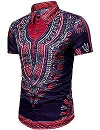 SALLYDREAM Camiseta de Los Hombres Talla Extra Verano Bohe Floral Manga Corta Lino (M)