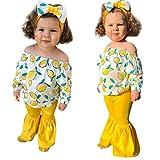 Yazidan Kleinkind scherzt Baby-Mädchen-Langärmeliges Zitronen-Print Rüschen Pullover Langarmshirt T-Shirt + einfarbige Flare-Hose Hosenkleidung + Haargurt, 3-teiliges Set