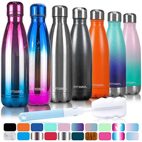 arteesol Trinkflasche, 350/500/750 ml Edelstahl Wasserflasche Doppelwandig Vakuumisoliert Water Bottle Schmaler Mund & BPA-frei für Outdoor-Sport Fitness Workout Camp & Office