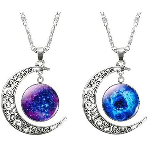 2 Collar Cadena Ajustable Colgante Luna Creciente Joyería Regalo para Mujer Moda