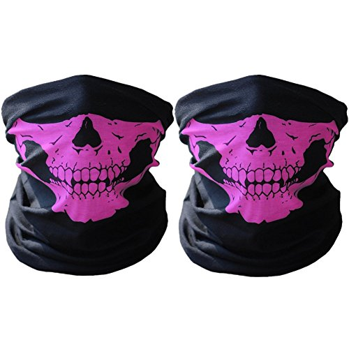 Multifunktionstuch - SWAMPLAND 2 Stück Winddicht Nahtlos Totenkopf Motorrad Fahrrad Ski Maske Schlauchschal,Pink