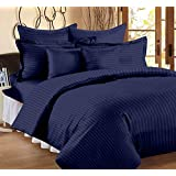 SANSEZZ Double King Size Bedsheet With 2 Pillow Covers -100% Pure Cotton Satin Plain Premium Platinum Superior Elegant Solid Stripes, Bedsheet For Home, Regular Use, Hotel Use, Multicolor