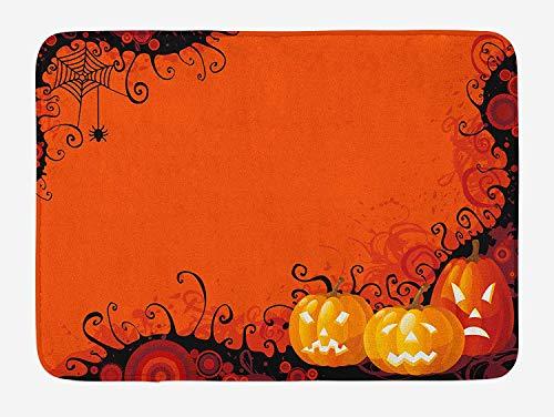 h Mat, Three Halloween Pumpkins Abstract Black Web Pattern Trick or Treat, Plush Bathroom Decor Mat with Non Slip Backing, 23.6 W X 15.7 W Inches, Orange Marigold Black ()