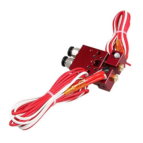 Quimera Extrusora de Doble Cabeza V6 Hotend 0,4 mm / 1,75 mm para 3D Impresora - Rojo