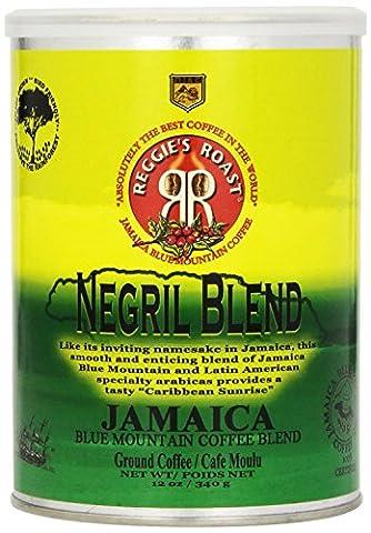 Jamaica Blue Mountain Coffee, Negril Blend Ground Arabica Coffee Tin