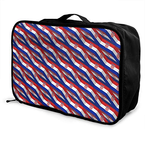 Portable Luggage Duffel Bag Croatia Flag 3D Art Pattern Travel Bags Carry-on In Trolley Handle