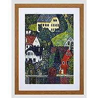 Casas en Unterach en Attersee de Klimt Old Master impresión enmarcada B12X 192 12 x 16 in - 30.5 x 40.7 cm Light Oak