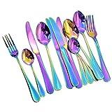 WOVELOT Juego de vajilla de 16 Piezas Juego de vajilla romantica Colorida Juego de Cubiertos de Arcoiris