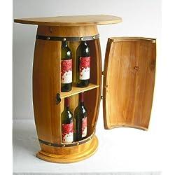 Marlow–Mueble aparador con vino de mesa barril 0373armario estante de vino barril de madera 73cm mesa auxiliar consola