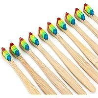 Penveat 1pièce en bambou Brosse à dents arc-en-ciel Brosse à dents en bambou Fibre Brosse à dents coloré en bois...