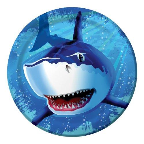 Creative Converting Shark Splash rund Abendessen Teller, 8Zählen (Einladungen Kids-spa-party)