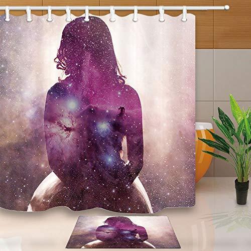 Gohebe Fantasy Rideau douche en extérieur Apace Éther étoiles Déesse Milky Way 71x71 résistant aux moisissures Rideau douche avec ensemble 15,7x Flanelle Sol antidérapant Paillasson Tapis bain