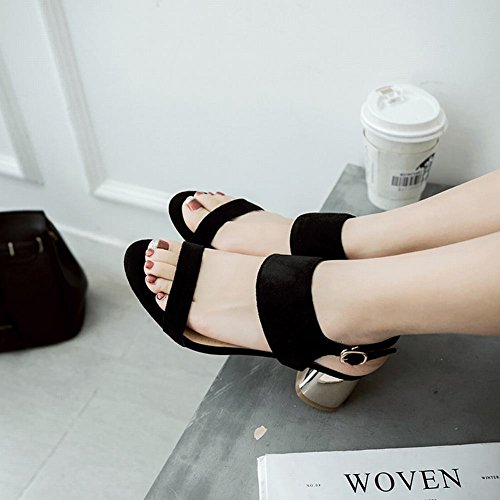 Mee Shoes Damen chunky heels backstrap Nubukleder Sandalen Schwarz