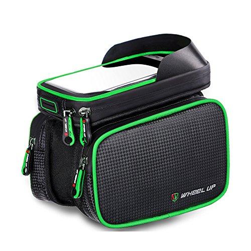 Rad bis Bike vorne Top Tube Touchscreen Satteltasche, Radfahren Rahmen Doppel Tasche Handy Paar Pack grün