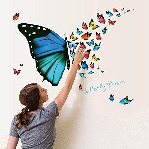 Ufengke adesivi murali farfalla sogno con farfalla e lettere adesivi muro rimovibili vinile diy decorazione parete per camera da letto bambini soggiorno