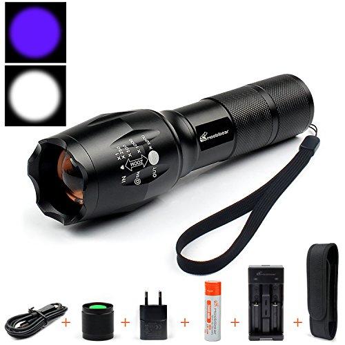 NEU: Moobibear® 2in1-ZOOM UV- und Normal-LED-Taschenlampe !! UV-Licht - für Geocaching / Nightcaching etc. -oder zur Prüfung von UV -Stempel oder UV- Leuchtfarbe => Schwarzlichteffekt; Lieferung inkl. 1x18650 LI-ION Akku, Batteriehalter für 3x AAA, USB-Ladegerät inkl. 230V Adapter uvm. und deutscher Bedienungsanleitung!