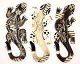 3 er Set Gecko aus Holz 30 cm x 10 cm bemalt Echte Handarbeit Salamander Echse Wanddeko