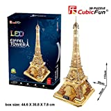 3D Puzzle Eiffelturm Paris Gold Cubic Fun Eiffel Tower